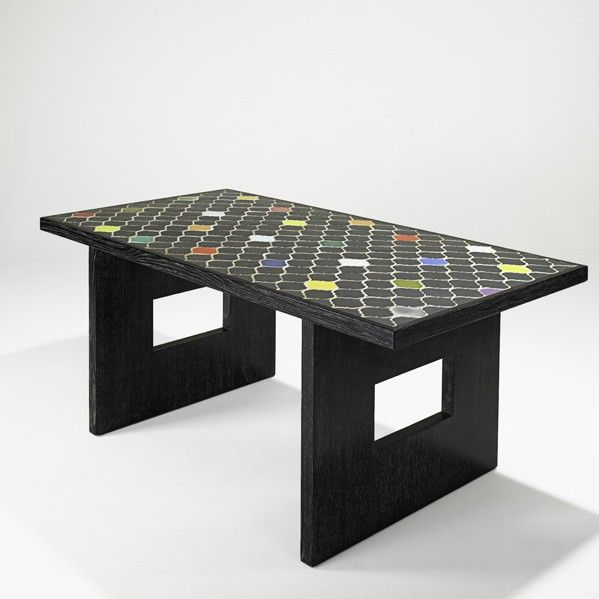 Andre Sornay and Colette Gueden; Painted Limed Oak and Glazed Ceramic Tile Dining Table, 1940s.