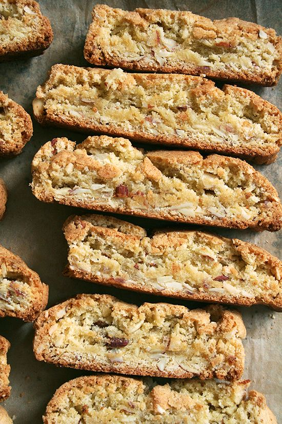 recipes for baked almond biscotti, also salted oatmeal cookies, honey-whole-wheat toasting bread