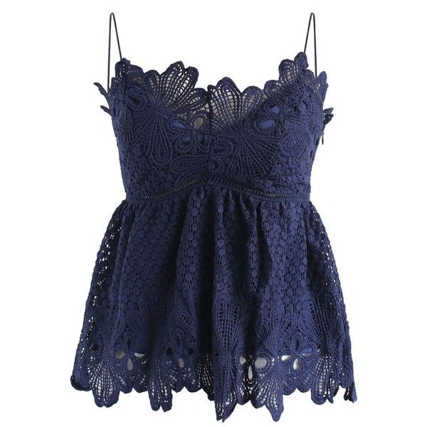 Chicwish Crochet to Adore Cami Top in Navy ($45) ❤ liked on Polyvore featuring tops, blue, blue top, blue tank top, blue tank, blue cami and cami tank tops