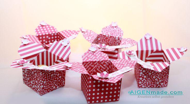 Gastgeschenke Goodies für Stampin'UP! Bastelparty - Rosenrote kleine Boxen Ferrero Rocher #Stampin'UP! #Gastgeschenke #Goodies #Boxes