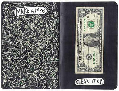 Wreck this journal Make a mess. Clean it up.