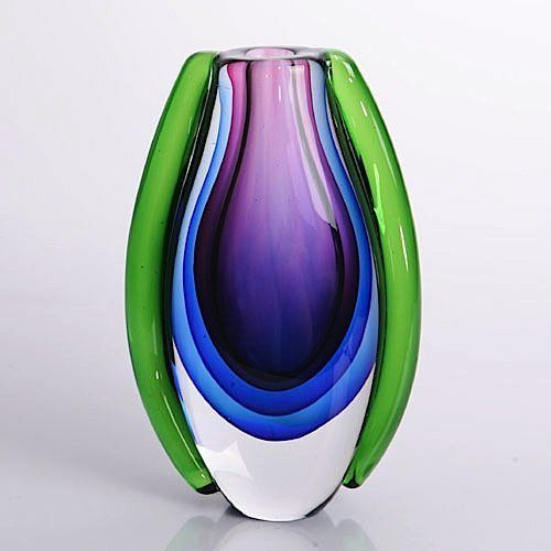 "purple art glass | Hand Blown Purple, Blue, & Green Sommerso Oval Art Glass Vase 10"" tall"