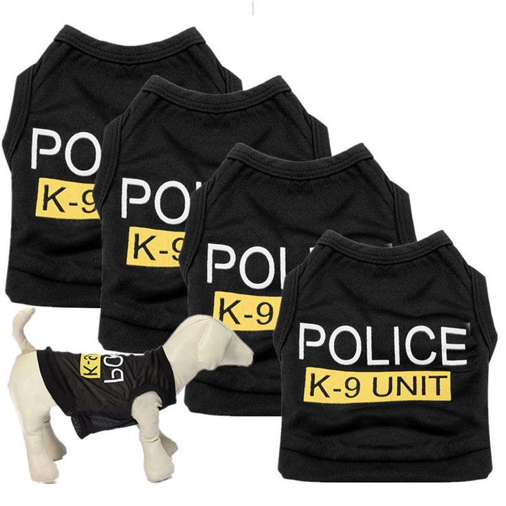 awesome New Dog Cat Vest Police Puppy T-Shirt Coat Pet Clothes Summer Apparel Costumes S