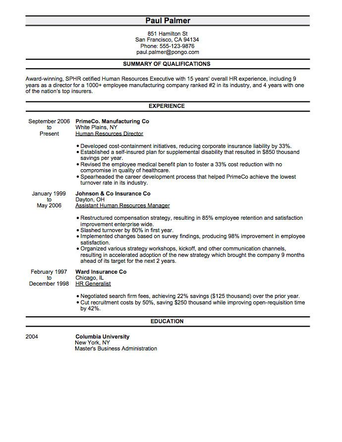 13 best resumes images on Pinterest Resume templates, Sample - resume for human resources