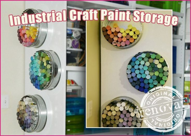 Craft Room Decor - Industrial Paint Bottle Storage personally I am going to use cake pans, but I think the idea is great!