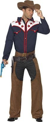 Smiffys Mens Rodeo Cowboy Costume with Shirt Chaps and Hat Tag someone you think would look good in this! #Cowboy #Halloween #Costume
