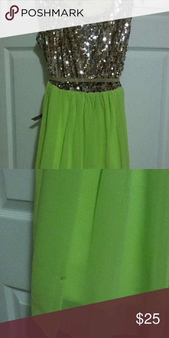 Dress Sequin gold and neon green dress Deb Dresses Midi