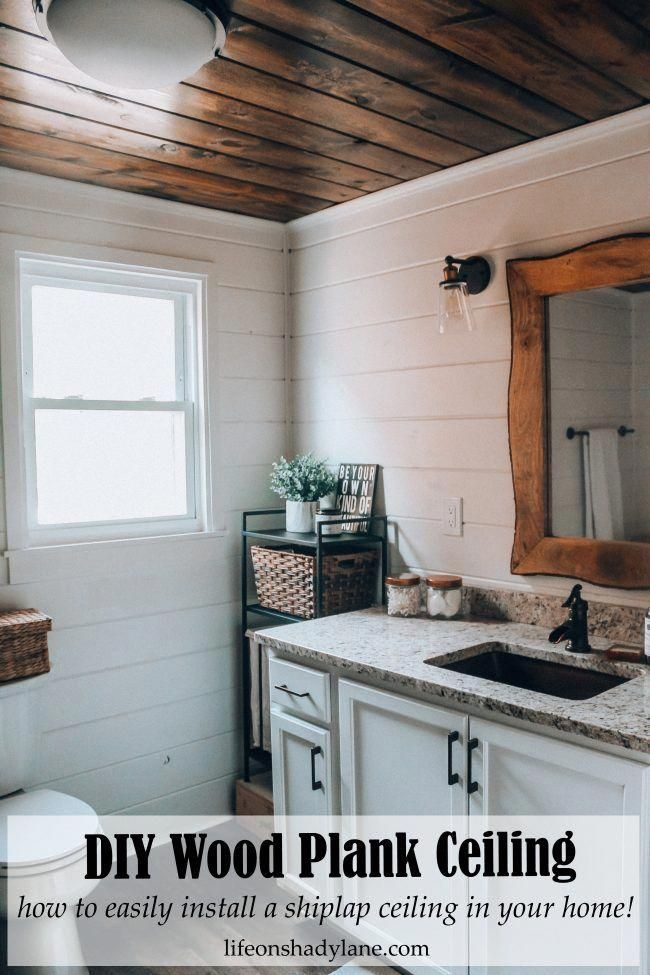 Diy Wood Plank Ceiling How To Easily Install A Shiplap Ceiling In Your Home No Nonsense Project Tutorial Wood Plank Ceiling Plank Ceiling Wood Plank Walls