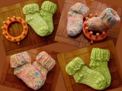 Baby booties on the small KK flower loom!