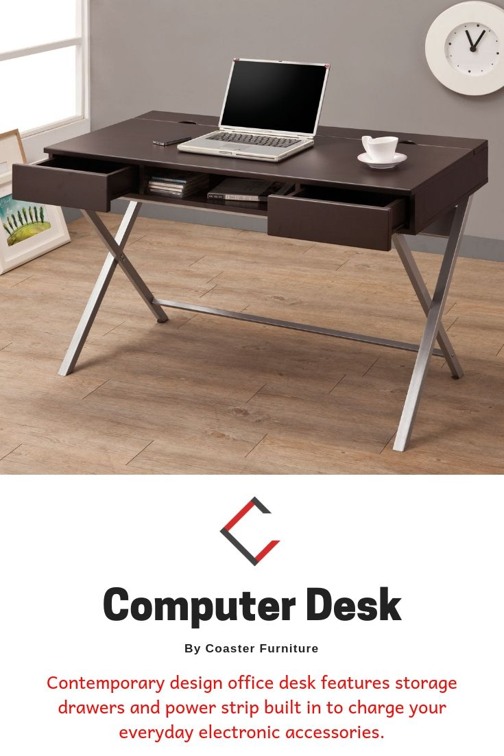 Coaster Furniture Cappuccino Connect It Computer Desk Coaster