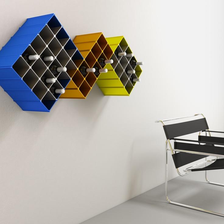 Wine rack Nucleus wallmounted. Design by Esthys.