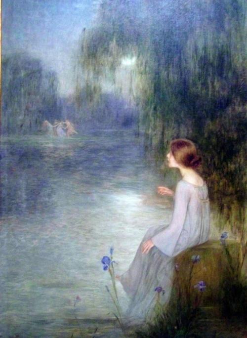 Joan Brull - Rêverie, 1905Art Master, Beautiful Elves, Art Blue, Joan Brulle, Magic Fairies, Art Painting, Brulle Labellefilleart, Fairies Dance, The Moon