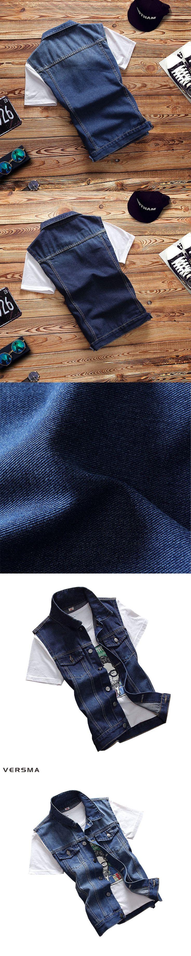 VERSMA Blue Jeans Vest Mens Waistcoats Vests of Men Denim Sleeveless Jacket Men Vest Denim Motorcycle Vest Men Jacket Coat XXXL