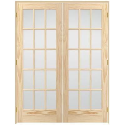 Veranda 15 Lite Glass Solid Core Unfinished Pine Prehung Interior French Door-X64N5NNNALDR - The Home Depot