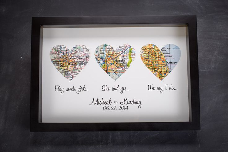 Homemade Wedding Gift Ideas For Bride And Groom: Atlas Map Hearts Print