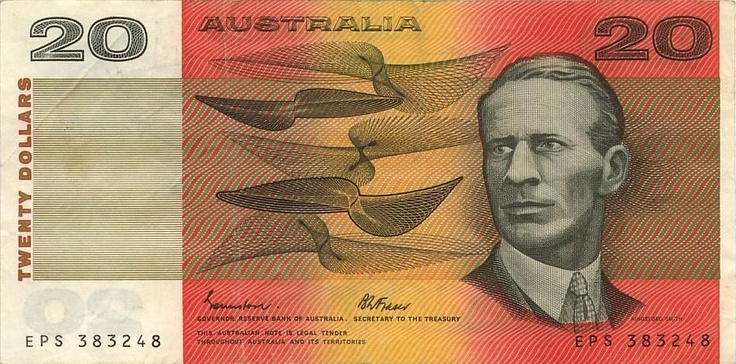 Australian $20 decimal paper note - Front.
