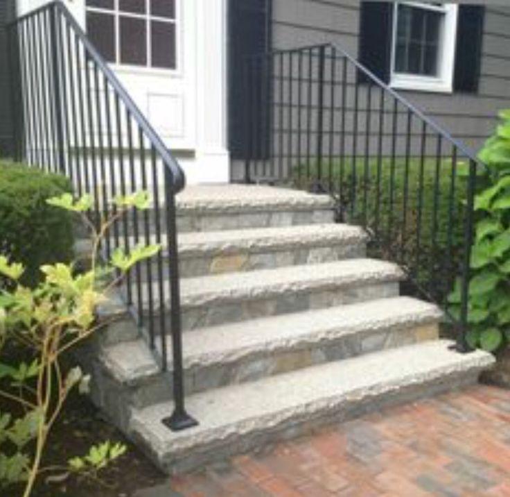Railing idea   Concrete front steps, Front porch steps ...