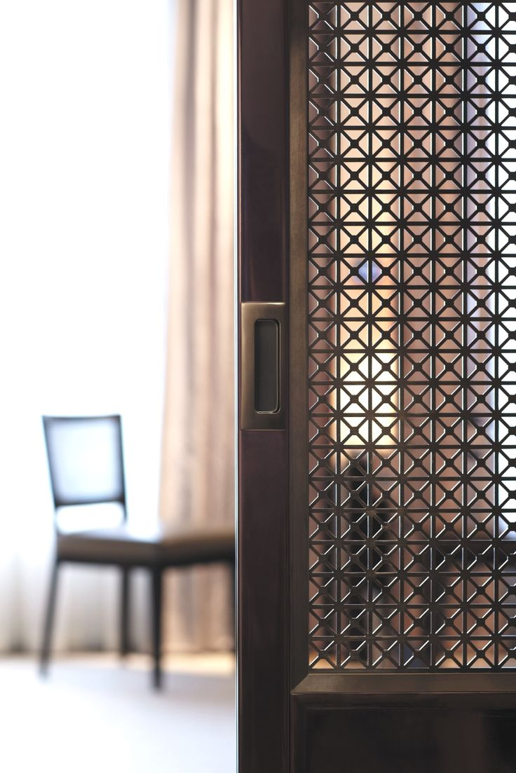 Sliding door detail with infill panels