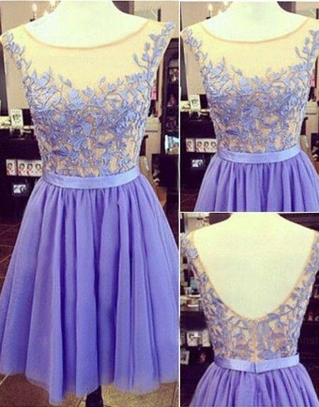 Lovely Lilac Illusion Neck Mini Chiffon Homecoming Cocktail Dress Cwb0227