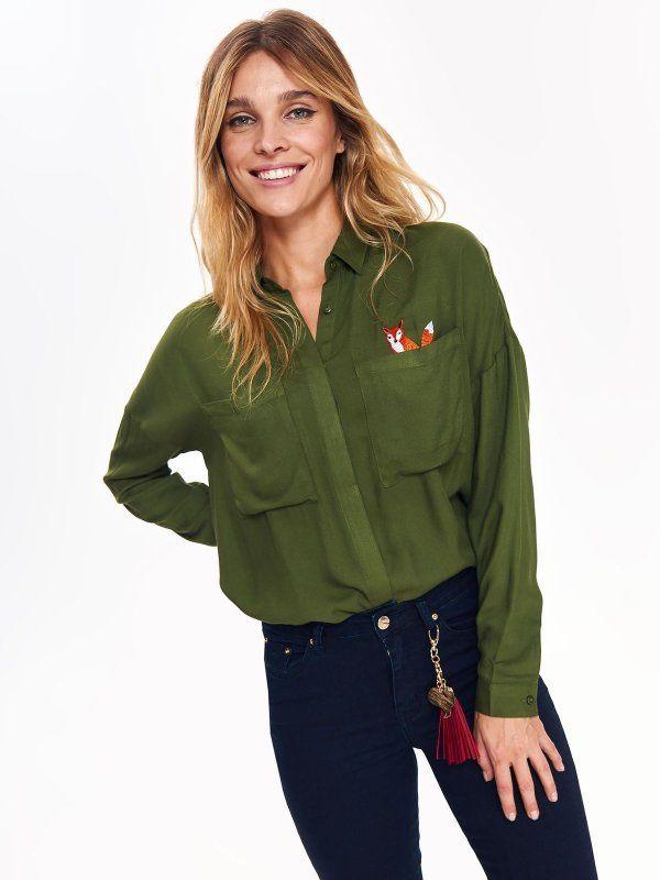 c764f56ac093b4 koszula damska khaki - koszula długi rękaw - TOP SECRET. SKL2701 Świetna  jakość, rewelacyjna cena, modny krój. Idealnie podkreśli atuty Twojej  figury.