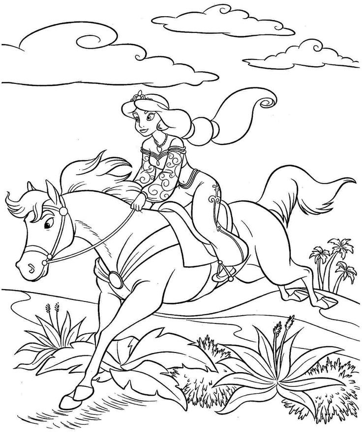 Coloring pages disney princess jasmine printable for kids for Princess and horse coloring pages