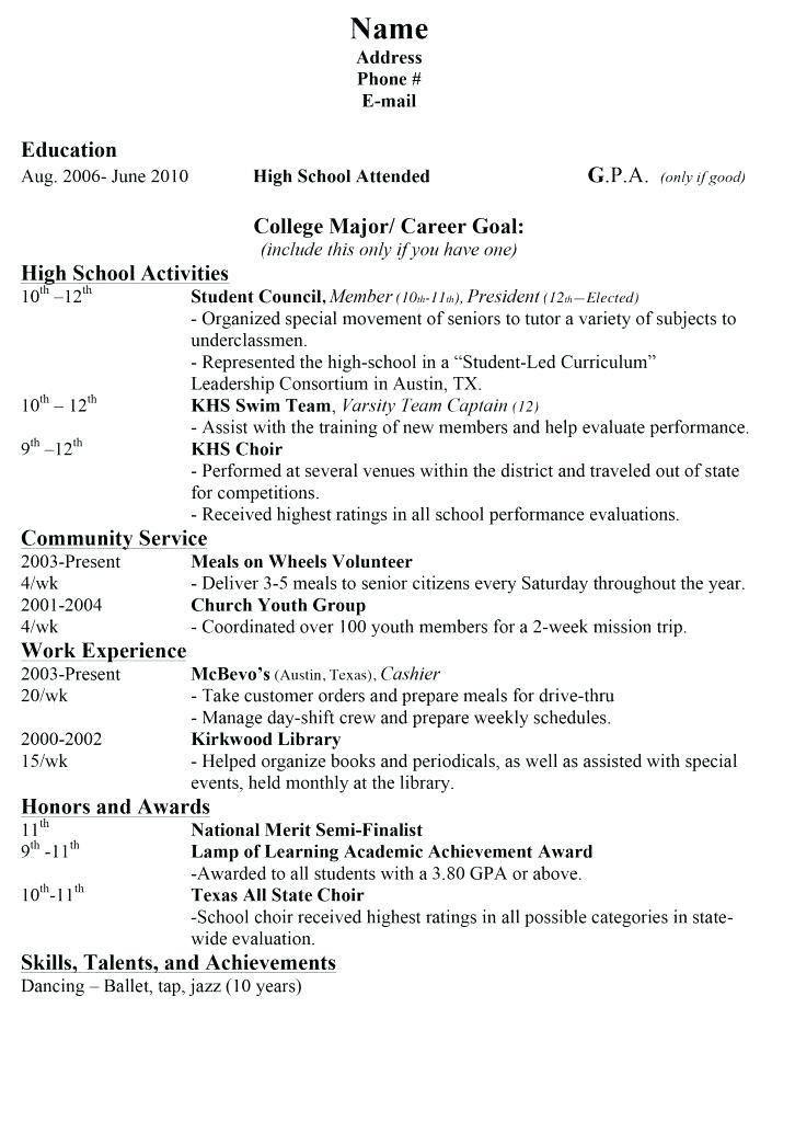 Mccombs Resume Template Candybrandco High School Resume College Application Resume College Resume
