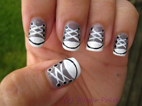 Converse Nail Design! Now that I got to try but with hot pink, black, and white!!! (: