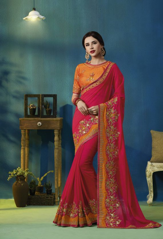 c6162a7b4e Rani and Orange Heavy Embroidered Saree Fabric Georgette Blouse Fabric Silk  With Pallu Work. Complete With Zari, Thread and Stone Work.