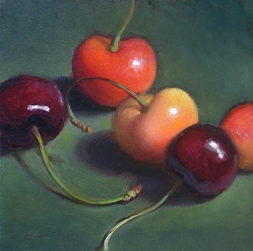 """Five Cherries"" - Original Fine Art for Sale - © Debra Becks Cooper"