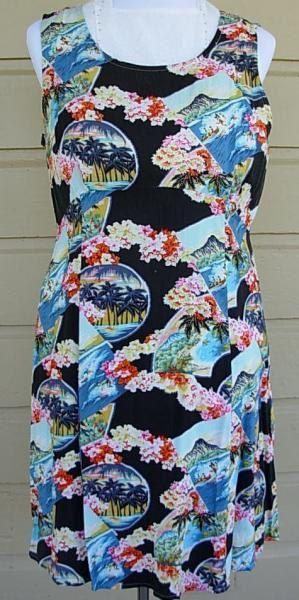 Hawaiian dress,  bust 38 dress, cruise dress, bust 38 spring dress, beachwear, kitsch print dress, Hawaii print