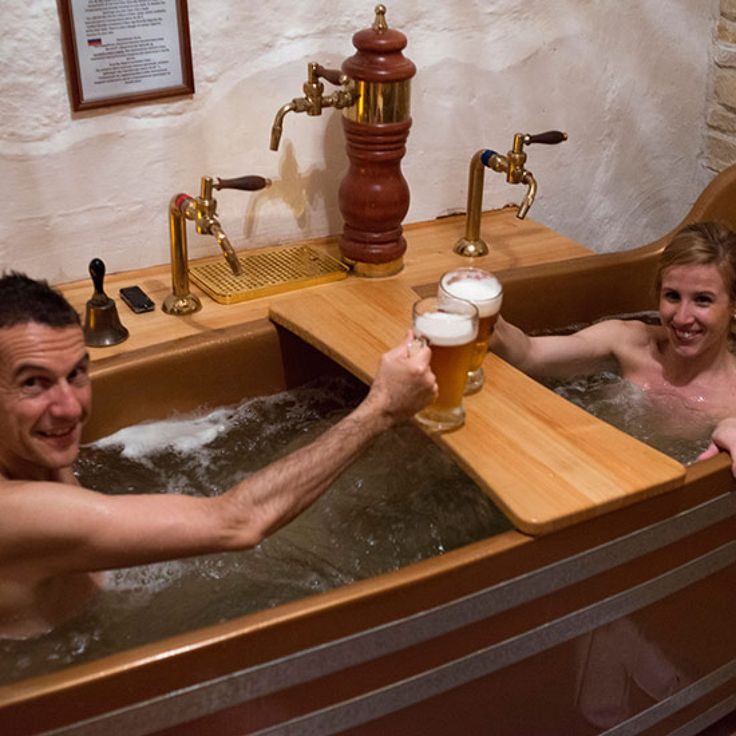 Bathing in beer might sound like a fraternity hazing technique, but at the Beer Spa in Prague it's said to