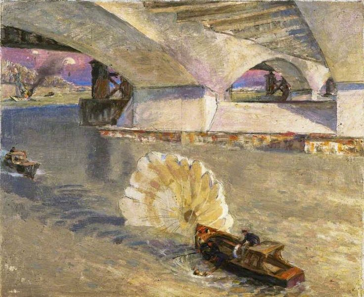 "1942 John Edgar Platt ""Wartime Traffic on the River Thames; River Police at Waterloo Bridge during the Battle of Britain"" oil on panel 19 x 22.8 cm Imperial War Museum, London"