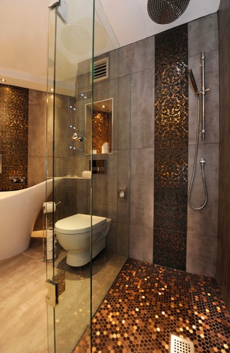 copper shower floor is amazing
