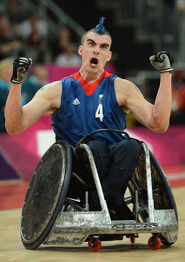David Anthony of Great Britain celebrates winning a point during the Wheelchair Rugby Pool Phase Group A match between Great Britain and France on day 8 of the London 2012 Paralympic Games at Basketball Arena on September 6, 2012 in London, England. (Photo by Christopher Lee/Getty Images)