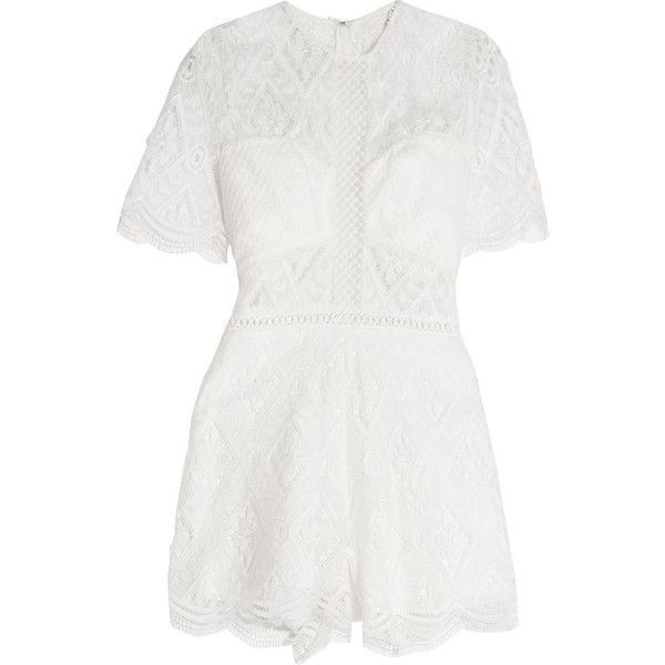 Alexis Brias crocheted lace playsuit ($285) ❤ liked on Polyvore featuring jumpsuits, rompers, white, white rompers, crochet lace romper, alexis romper, playsuit romper and fitted romper
