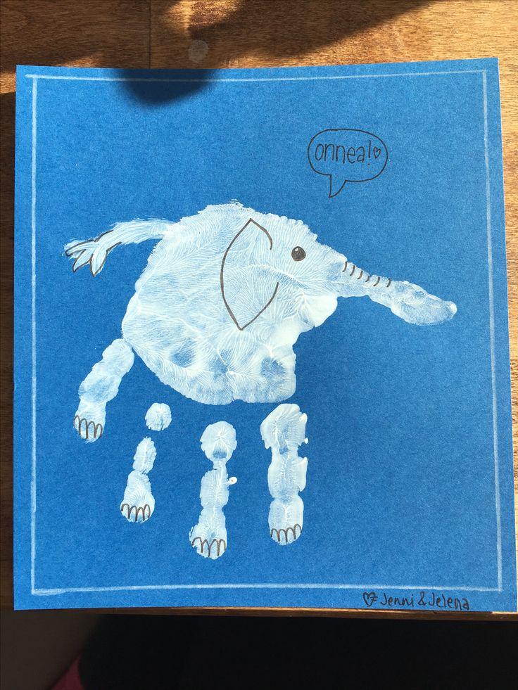 syntymäpäivä, kortti, diy, kädenjälki, norsu, birthday, card, hand print, elephant, 2017