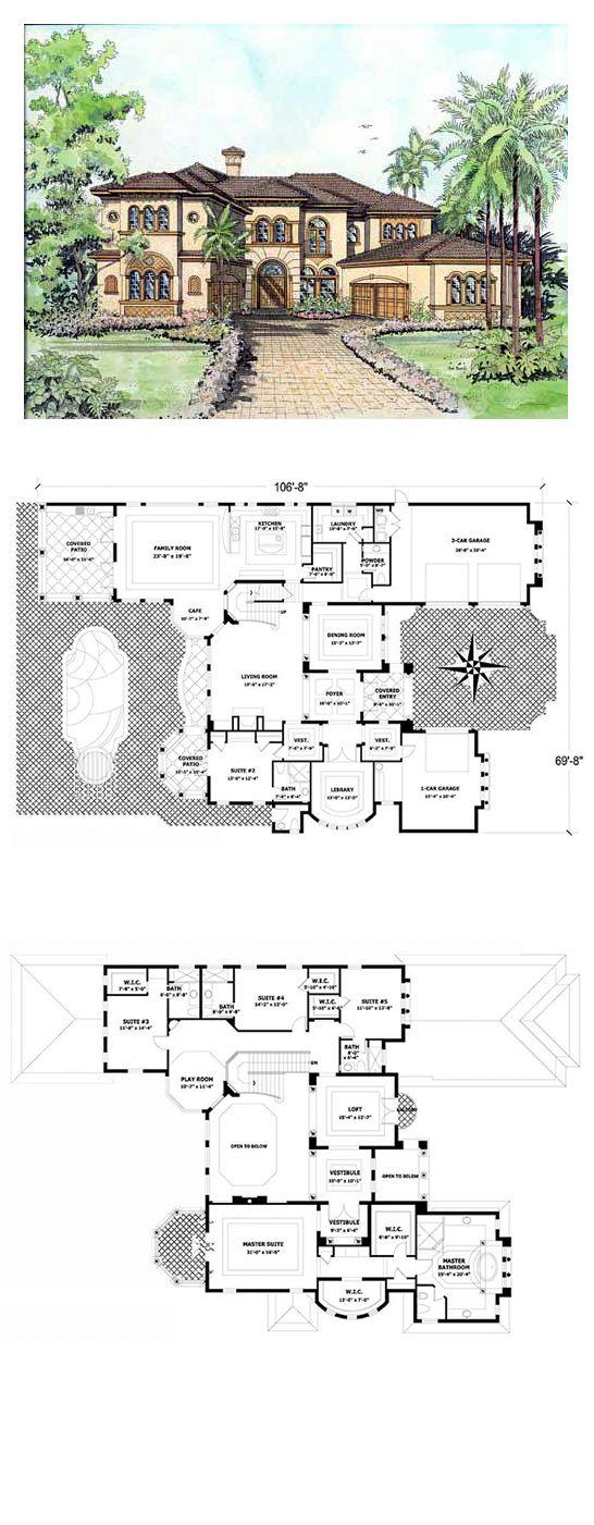 Italian House Plan 55786 | Total Living Area: 5642 sq. ft., 5 bedrooms & 6 bathrooms. #houseplan #italianstyle