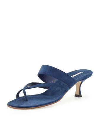 Susa Suede Low-Heel Thong Sandal, Blue by Manolo Blahnik at Bergdorf Goodman. #manoloblahnikheelsblue #manoloblahnikheelsbergdorfgoodman