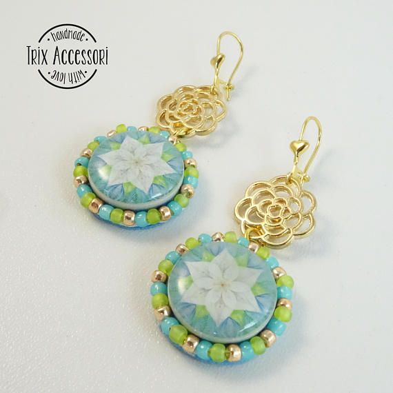 Soutache Earrings, Pendants, Handmade Earrings, Hand Embroidered, Soutache Jewelry, mandala, flower, resin cabochon, Gold, OOAK, summer