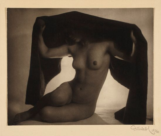 Frantisek Drtikol. Nude (with fabric) 1926