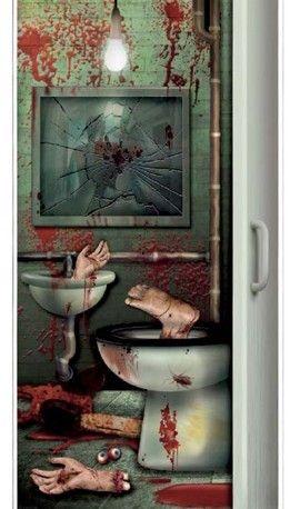 Halloween, cartel para puerta del baño.