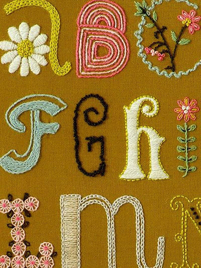 I took a crewel (hand embroidery) class last night and I'm hooked!  Wouldn't this sampler be a gorgeous touch to a playroom or nursery?