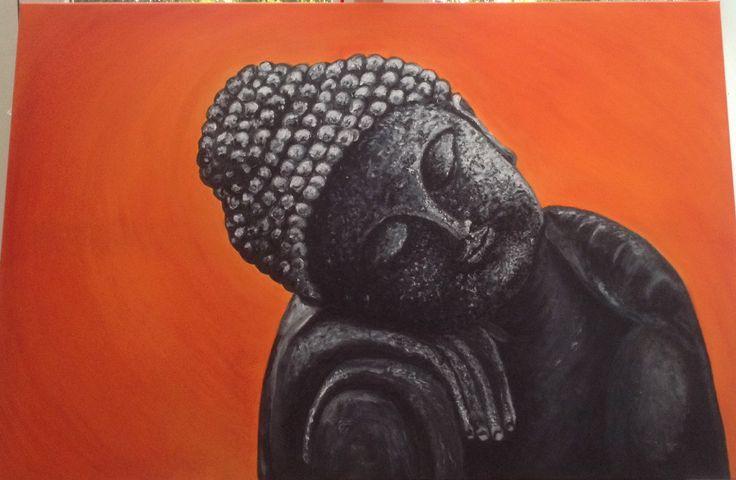 Slapende Buddha , acryl op canvas. Voor Steffen geschilderd