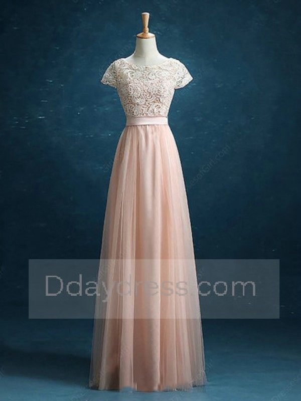 Save on Scoop Neck Lace Tulle Floor-length Sashes Ribbons Short Sleeve  Bridesmaid Dress Itembd0200