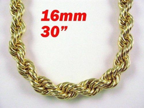 "Hip Hop Gold Heavy Plated Fat Rope Chain 16mm 30"" RUN DMC Rope Chain. $42.99. Made in Korea. Lobster Clasp. Length: 30 inches. Men's Gold plated Run DMC style thick rope chain. Heavy plated 40 mills of Real Gold"