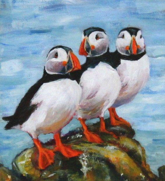 Gina Wright, Puffin Trio   Scottish Contemporary Art