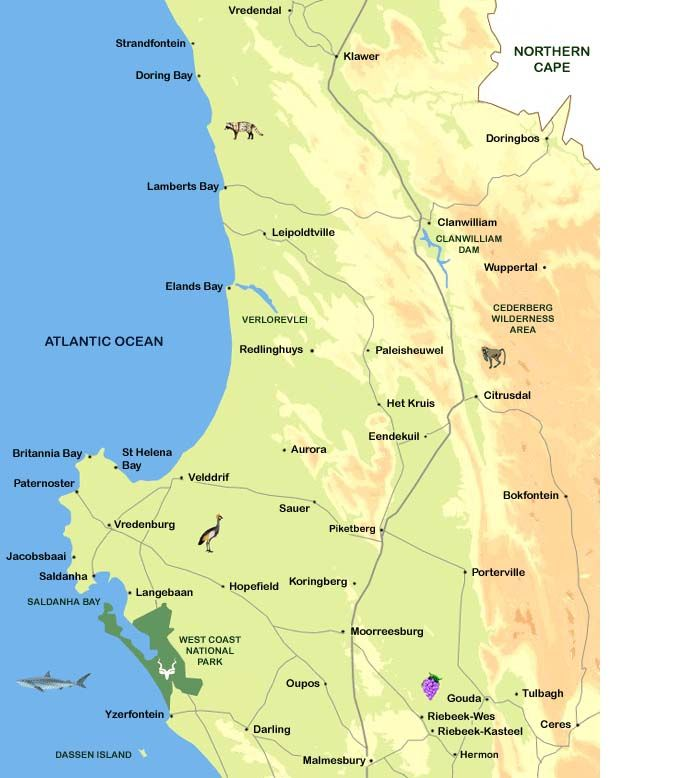 cape namibia westcoast route map - Google Search
