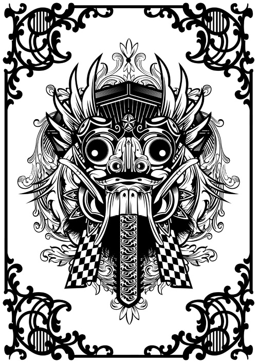 balinese barong mask art polynesian tribal pinterest balinese and masks. Black Bedroom Furniture Sets. Home Design Ideas