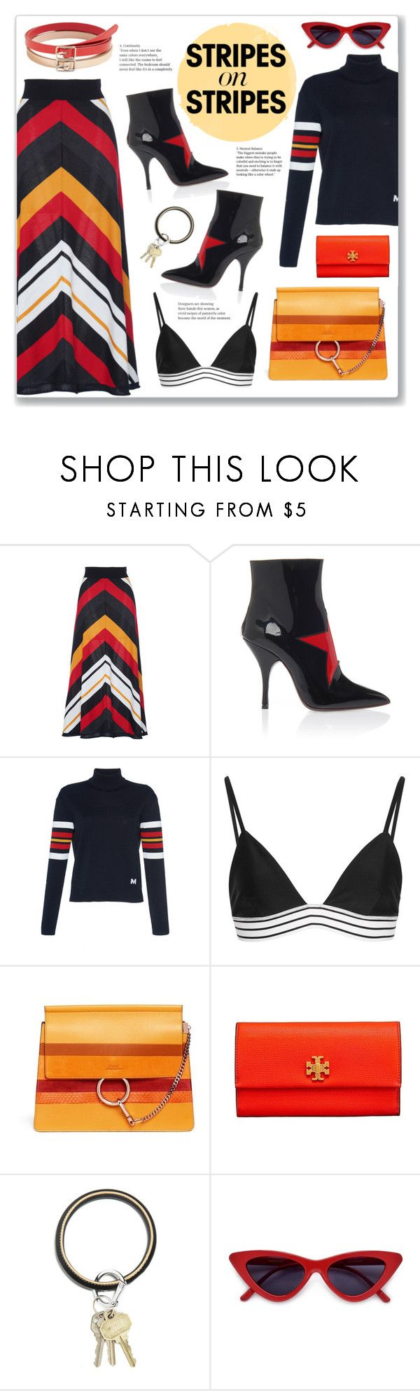 """Stripes"" by hellodollface ❤ liked on Polyvore featuring MSGM, Tori Praver Swimwear, Tory Burch, O-Venture, MANGO, stripesonstripes and PatternChallenge"