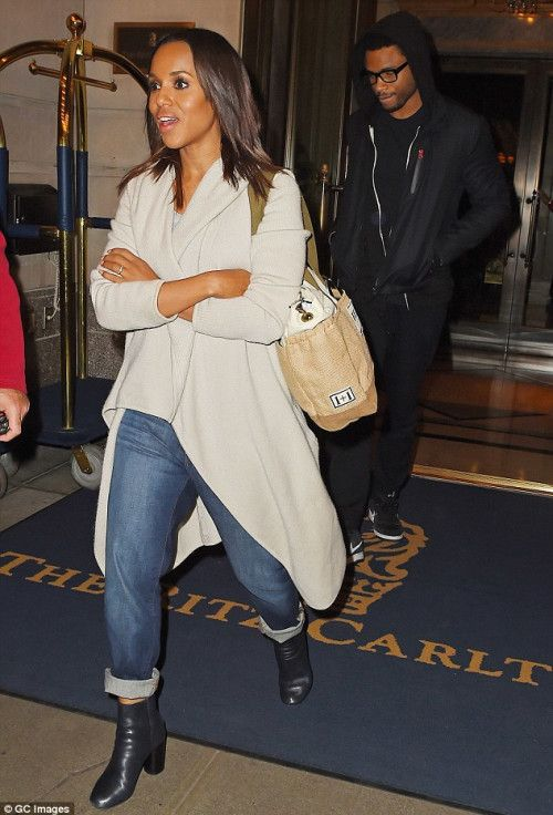 Kerry Washington takes a break and lets nanny carry her baby daughter